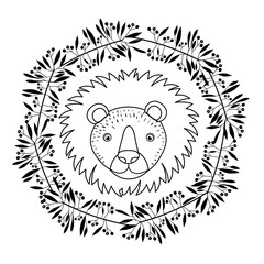 Lion icon. Animal cartoon and nature theme. Isolated and drawn design. Vector illustration