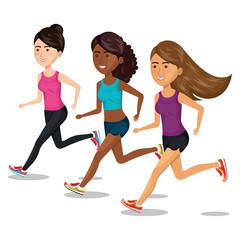 group girl running jogging sport design isolated vector illustration eps 10