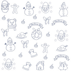 Hand draw christmas object of doodle