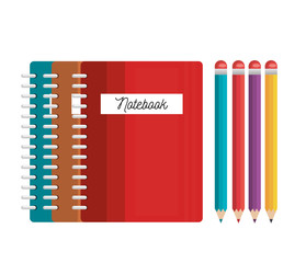 notebooks and pencils colored tools student graphic vector illustration