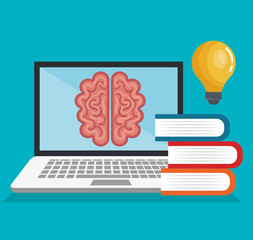online education, brain mind think learning blue background design isolated vector illustration