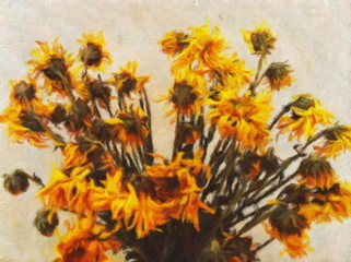 Oil painting ancient sunflower / photo effect  Oil painting