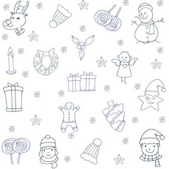 Christmas set with hand draw of doodles
