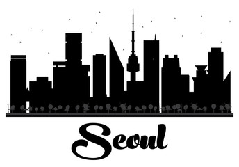 Seoul City skyline black and white silhouette.