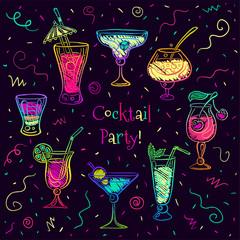Hand drawn sketchy cocktail set. Vector illustration