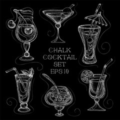 Hand drawn chalk sketchy cocktail set. Vector illustration