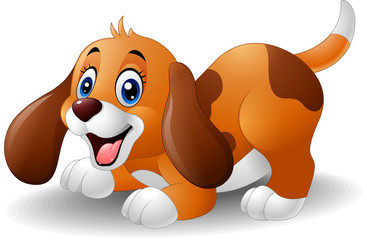 Cartoon playful puppy
