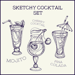 Hand drawn ink sketchy cocktail set. Vector illustration