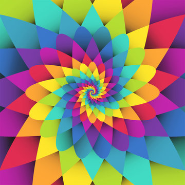 Bright rainbow spiral psychedelic vector background