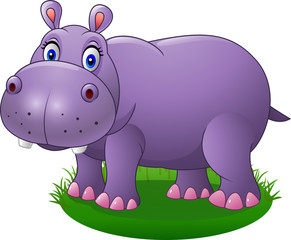 Cute cartoon hippo on the grass