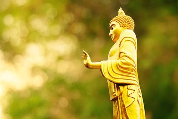 The standing Buddha statue with blur background