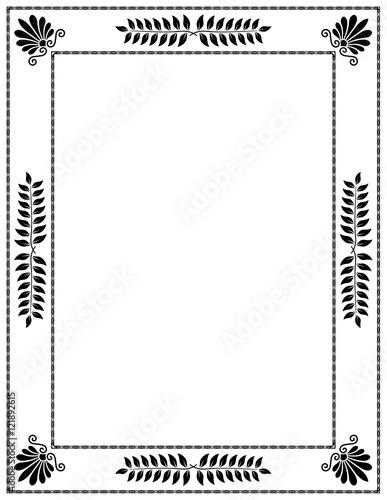 Cadre Déco Laurier Palmettes Noir Fond Blanc Stock Image And
