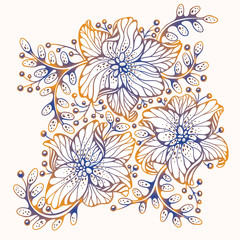 Wall Mural - Flowers set. Vector illustration