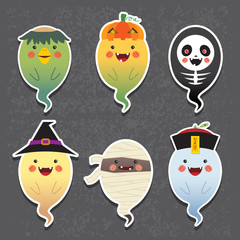 Set of collection of cute ghost with different cosplay: kappa (river imp), jack o lantern, skeleton, witch, mummy and chinese zombie. Cartoon halloween ghosts vector icon set.