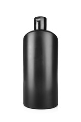 Black cosmetic bottle isolated on white