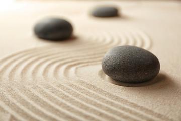 Japanese Zen garden. Pebbles on a sand Wall mural
