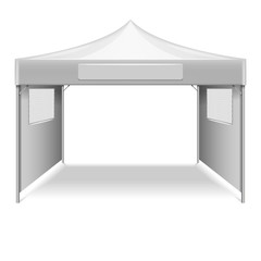 White empty folding tent, marquee vector template