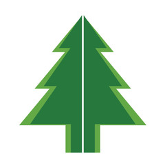simple green color Christmas trees for new year greeting card presentation. Vector Illustration.