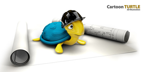 Happy sea turtle cartoon as foreman