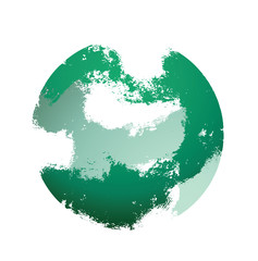 Vector abstract hand-drawn grunge brush strokes in the form of destroyed green sphere on a white background. Brush smear stain texture. Vector abstract illustration.