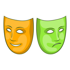 Happy and sad mask icon in cartoon style isolated on white background. Events and parties symbol vector illustration