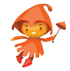 Vector cartoon image of a cute fairy of autumn in an orange dress and orange hood with a magic wand in hand smiling on a white background. Seasons. Vector illustration with shadows and highlights.
