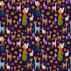 Cute autumn seamless pattern with forest animals: fox, deer, doe, rabbit. Funny animals childish design. Cute animals in warm clothes. Wonderful autumnal pattern paper or fabric.