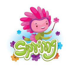 "Vector green emblem with flowers and with cartoon image of a cute fairy of spring in green-pink dress and pink hat, with a magic wand in her hand on a white background. Seasons. Inscription ""Spring""."
