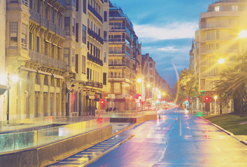 Street at San Sebastian in  early  morning