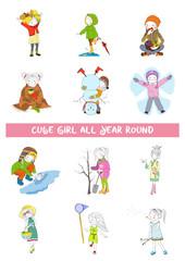Four season of year calendar with girl. Vector set