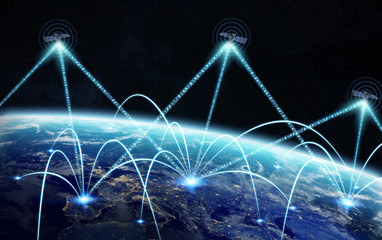 Global network and satellite data exchange 3D rendering elements