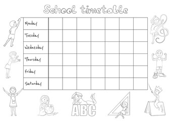School timetable coloing page cartoon vector