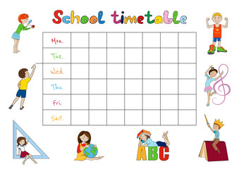 School timetable, kids weekly planner vector