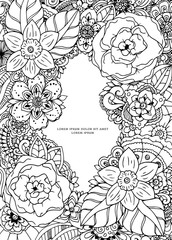Vector illustration , floral frame. Doodle drawing. Coloring book anti stress for adults. Meditative exercises. Black white.
