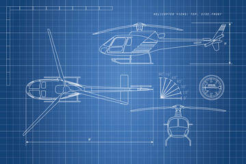 Engineering drawing helicopter on a blue background. Three views