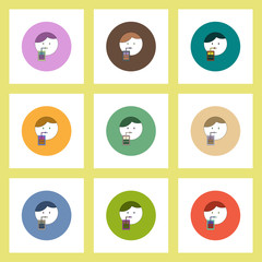 flat icons Halloween set of Vampire Dracula drinking blood concept on colorful circles