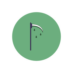 Vector illustration in flat design Halloween icon bloody scythe