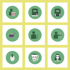 Collection of icons in flat style halloween decorations