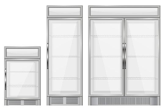 Display refrigerator. Set of commercial merchandisers
