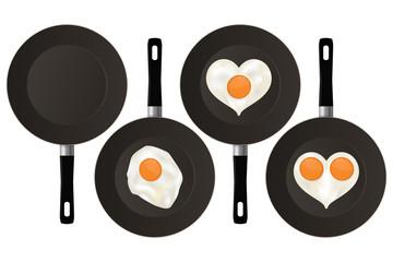 Fried eggs on black frying pan