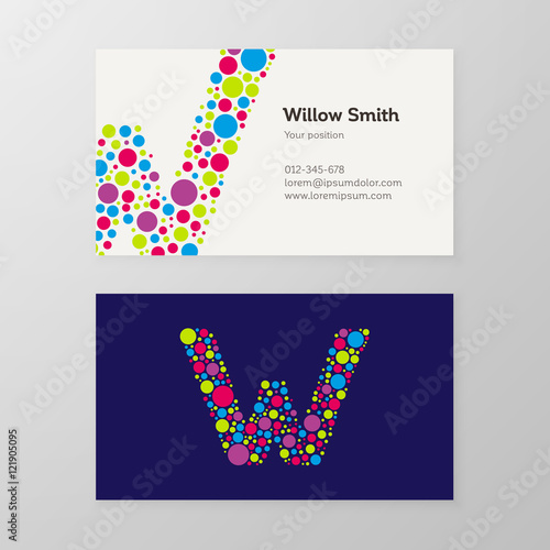 Quotmodern letter w circle business card templatequot stock for Circle business card template