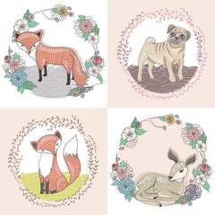 Cute little fox, deer and pug illustration set in floral frames.