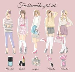 Young fashion girls illustration. Vector illustration. Backgroun