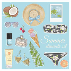 Summer fashion vector accessories set. Background with sunglasse