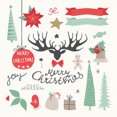 Christmas Elements and Holidays symbols. Vectors illustration