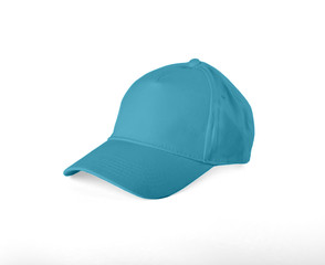 Blue Baseball Cap on white background.