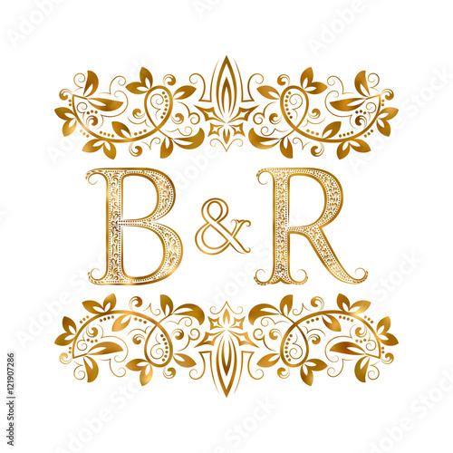 BR Vintage Initials Logo Symbol Letters B R Ampersand Surrounded Floral Ornament