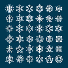 Snowflake vector set. Snowflakes silhouette clipart for winter holiday frosted and frozen decoration