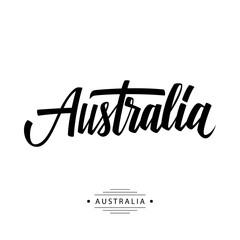 Handwritten inscription Australia. Hand drawn lettering. Calligraphic element for your design. Vector illustration.