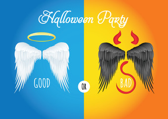 Halloween vector illustration of angel and devil wings, party with blue and orange background